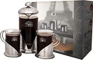 Pura Vida French Press Coffee Maker Set, 20 oz - 4 Level Filtration System - 2 Luxury Mugs - Heat Resistant Borosilicate Glass French Press with Durable 304 Stainless Steel - Tea Maker, 4 Cup