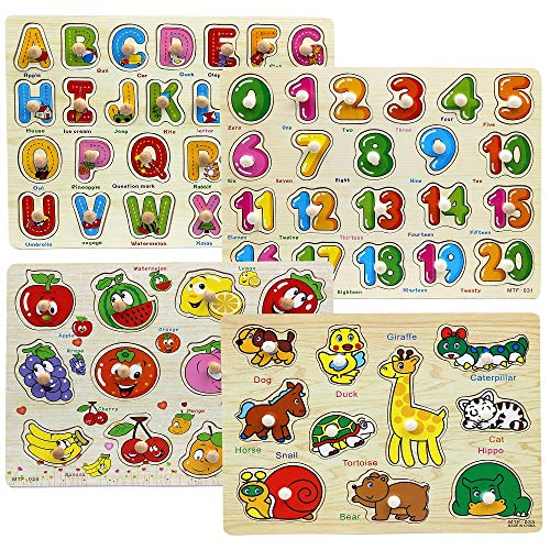 Moruska Wooden Peg Puzzles for Toddlers 1 2 3 Year Olds Kids Fruit Animal Number ABC Alphabet Learning Puzzle Preschool Educational Pegged Knob Puzzle for Baby Boys and Girls