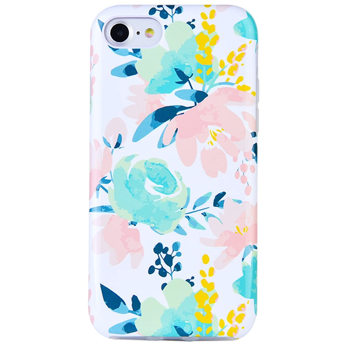 Dimaka Case for iPhone 7 Case, iPhone 8 Case for Girls, Cute Floral Leef Flower Pattern Protective Case, 2 Layer Hybrid Drop Proof Cover [Retro Design] for iPhone 7 and 8 (116)