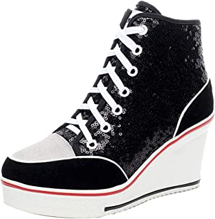 Jiu du Women's High-Heeled Sneakers with Suede Sequins Lace Up Wedges Shoes