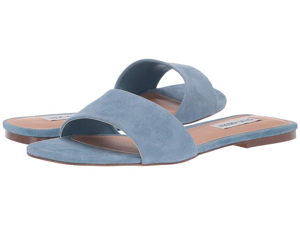 Steve Madden Bev Flat Sandal (Blue Suede) Women