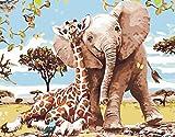 Fuumuui Pintar por Numeros para Adultos Niños,DIY Pintura por números de Kits Sin Marco-Elefante y Jirafa 16 * 20 Pulgadas
