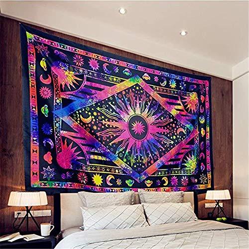 CULASIGN Wandteppich indischer Mandala Tapestry Hippie Bohemian Psychedelic Wandtuch Wandbehang Wand Dekoration Tagesdecke Orientalisch (Lila)