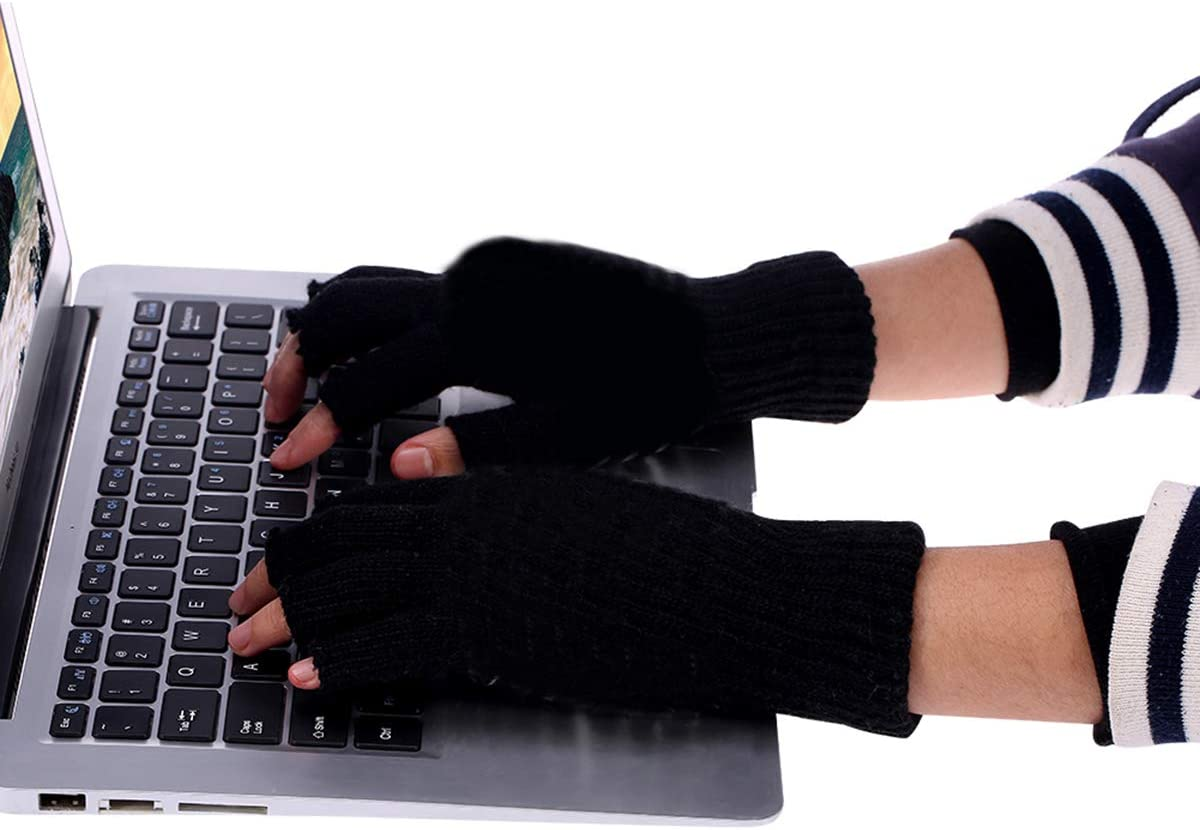 Unisex Women's & Men's USB Heated Gloves Mitten Winter Hands Warm Laptop Gloves,Full & Half Heated Fingerless Heating Knitting Hands Warmer Washable Design (Black)