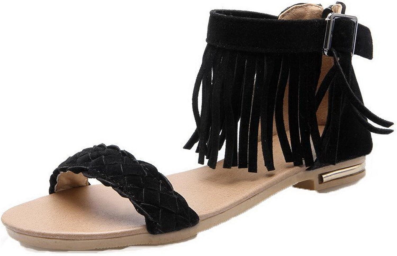 WeiPoot Women's Solid Frosted Low-Heels Open Toe Zipper Sandals