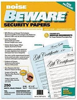 Boise BSP-11UC-TL Beware Security Paper, Bus, Unauth. Copy, 8-1/2 X 11, Teal, 250/Pack