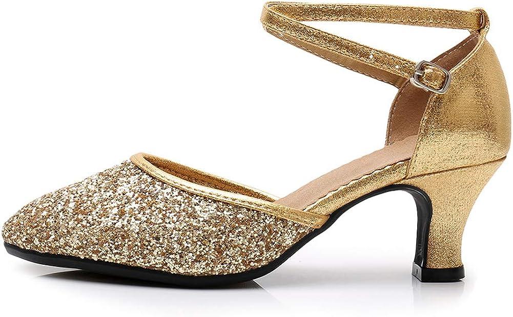 AOQUNFS Women's Latin Dance Shoes Closed Toe Ballroom Performance Wedding Dance Shoes Low Heel,DY225
