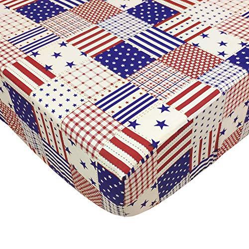 Brandream Baby Jungen Spannbettlaken für Kinderbett mit amerikanischer Flagge, Sternenmuster, Spannbetttuch für Baby/Kleinkind/Neugeborene, Standardgröße, 100% Baumwolle