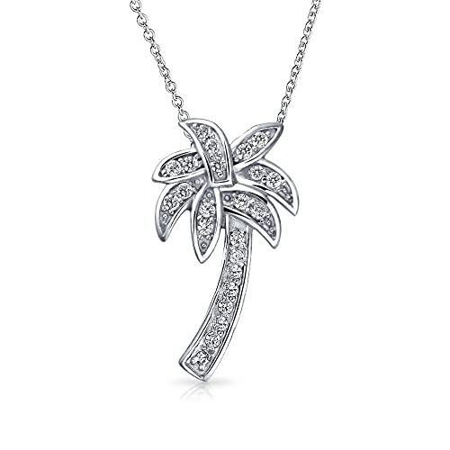 ef889dd93 Classic Nautical Palm Tree Tropical Beach Pendant Pave Cubic Zirconia CZ  For Women Girls Necklace 925