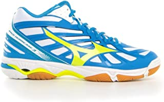 MIZUNO V1GA174544 Wave Hurricane 3 Mid Men's Volleyball Shoes, 12 UK, White/Safety Yellow/Directoire Blue
