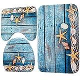 xiaoxioaguo Hogar inodoro 3 piezas/set baño antideslizante alfombra set inodoro alfombra