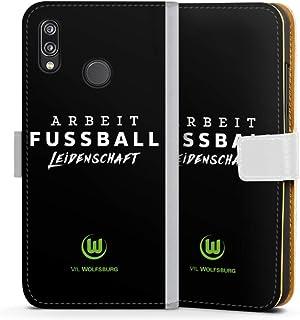 DeinDesign Klapphülle kompatibel mit Huawei P20 Lite Handyhülle aus Leder weiß Flip Case VFL Wolfsburg Offizielles Lizenzprodukt Statement