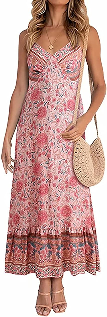 Boho Dresses for Women-Adjustable Spaghetti Strap Front Button Summer Vintage Floral Printing Casual Swing Long Dress