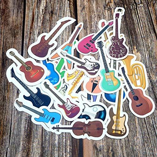 PMSMT 24 Uds.Pegatinas Impermeables de Instrumentos Musicales Coloridos DIY decoración de Diario Pegatina de papelería Pegatinas de Regalo de Guitarra Mixtas Bonitas