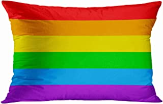 Tarolo Home Decor Pillow Cover Case LGBT Gay Pride 6 Stripe Rainbow Flag Decorative Pillowcases Pillow Cases Cushion Covers Sofa 20x30 Inches Two Side