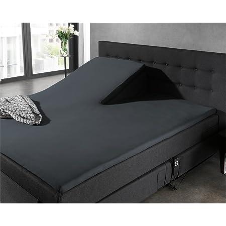 Castell 77113//080//041 Drap Housse en Jersey Stretch pour un Lit Noir 140 x 200 cm /à 160 x 200 cm