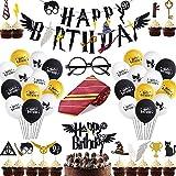 Shinelee Zauberer Geburtstag Party Deko Krawatte Brille Cupcake Topper Kuchen Dekoration Ballon Banner für Geburtstagsdeko Themenparty für Kinder Jungen Mädchen