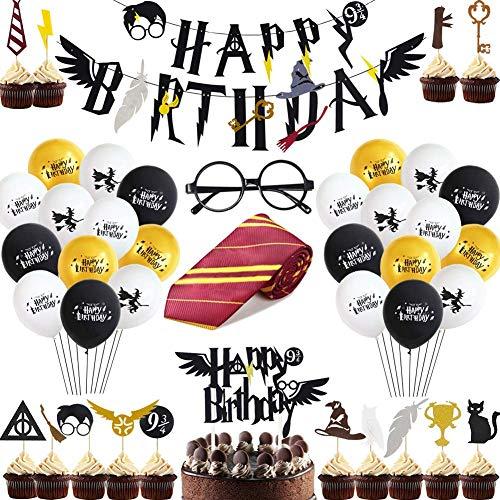 Shinelee Inspiré Décoration Anniversaire HP Cravate Lunettes Ballon Bannière Happy Birthday Cupcake Topper de Gâteau d'anniversaire Magicien Décoration Fête Anniversaire