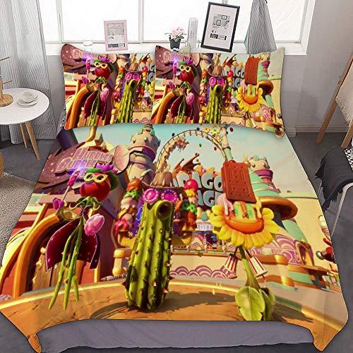 SfeatrutMAT Bedding Duvet Cover 2 Piece Set,Plants Vs Zombies,(36),Kids Girls Boys Cartoon Bed Set,Twin 55'x79'