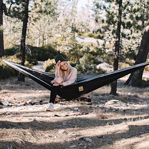 61T7uO3x3ML - Wise Owl Outfitters Hammock for Camping Single & Double Hammocks Gear for The Outdoors Backpacking Survival or Travel - Portable Lightweight Parachute Nylon SO Black & Grey