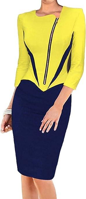 Minetom Damen Elegante Bodycon V Kragen Flouncing Spitzen Party Kleid Cocktailkleid Business Stretch Kleid