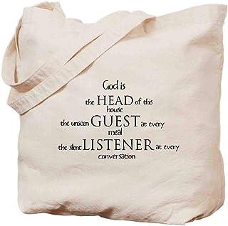 ショルダーバッグ ボッ - キャンバスバッグ - 心に強く訴える英語の文章-God is The Head of This House The Unseen Guest at Every Meal The Silent Listener at Every Conversation - 39cmx36cm