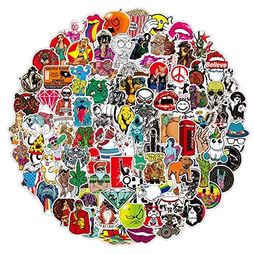 Dheckbluesky 100 pegatinas de vinilo con diseño de graffiti, resistentes al agua, para botella de agua, portátil, teléfono móvil, monopatín, guitarra