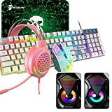 5in1 Gaming Keyboard and Mouse Combo,12W HD Sound Speakers Rainbow LED Backlit Wired Keyboard,2400DPI 6 Button Optical Gaming Mouse,Gaming Headset,Gaming MouseMat for Computer Gaming PS4 (White) -  KUIYING