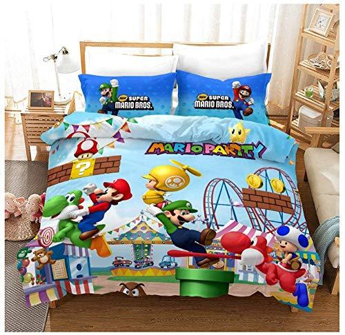 BLSM - Juego de ropa de cama Super Mario Bros para cama individual, doble y king size, funda de edredón de microfibra para niñas y niños (A9, 140 x 210 cm)