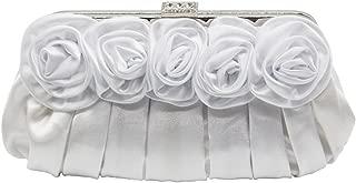 Wiwsi Floral Satin Pleated Wedding Hard Case Clutch Purse Bag Bunch Flowers Flap