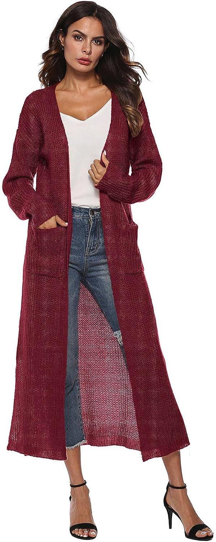 Womens Cardigan Sweaters Long Sleeve Open Front Tops Side Split Cute Long Cardigan Women Fall Clothes