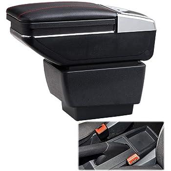 Bracciolo Centrale con Vano Portaoggetti per Fabia 2015-2017 Console Centrale Auto Supporto in Pelle con Portacenere /& Portabicchieri /& 7 Porte USB Nero