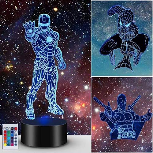 Lámpara de ilusión 3D, noche de luz de superhéroe para niños, niñas, lámpara decorativa, regalos, cumpleaños, festival, Navidad para niños, adolescentes (Spider Man + Iron Man + X-Men Deadpool)