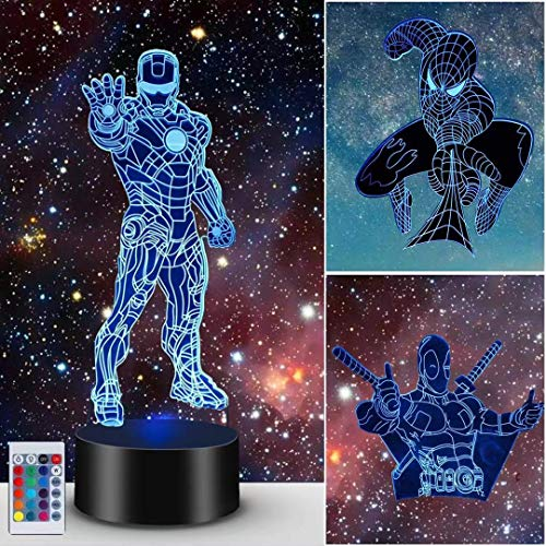 3D Illusionslampe, Superheld Light Night für Jungen Mädchen Dekor Lampe - Geschenke Geburtstagsfest Weihnachten für Kinder BoysTeen (Spider Man + Iron Man + X-Men Deadpool)