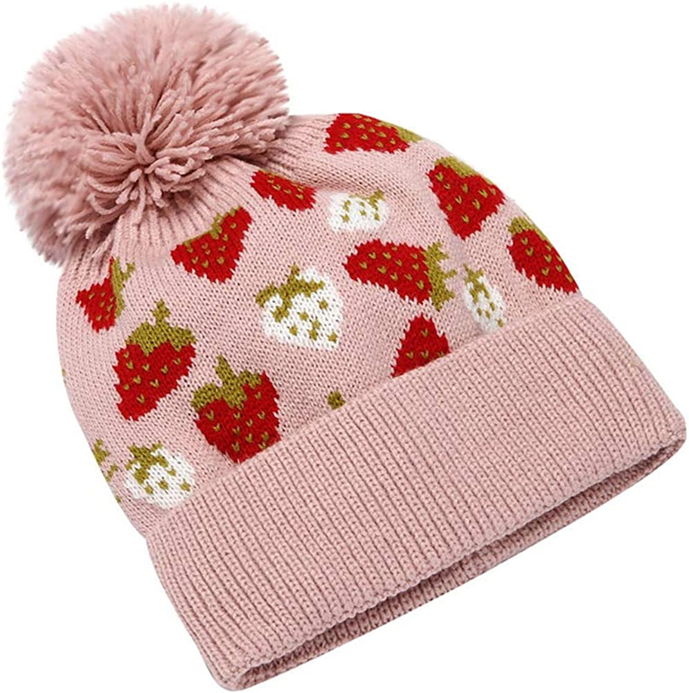 Klun Women Strawberry Printed Pompom Knitted Beanie Hat Winter Warm Chunky Cuff Bonnet Cap
