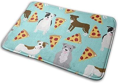 "Pitbull Terrier Pizza Mint Dog Dog Breed Funny Dog Pizza Novelty Design Pizza Food Cute Dog Pets_16363 Doormat Entrance Mat Floor Mat Rug Indoor/Outdoor/Front Door/Bathroom Mats Rubber Non Slip 23.6"" X 15.8"""