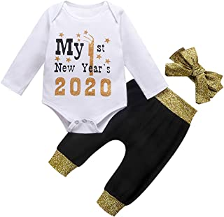 Baby Girls My First New Year Romper Outfit 1st 2020 Shirt Pant Headband 3pc Set