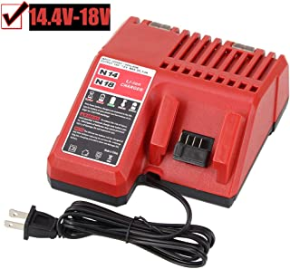 Fhybat Replacement M18 Battery Charger for Milwaukee 14.4v-18v Red Lithium ion Rapid Charge 48-59-1812