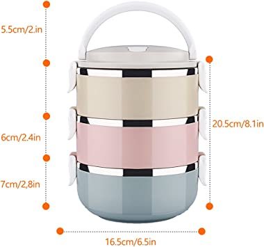 3 Layer Stainless Steel Leakproof Lunch Box, Portable Carry Hand Food Storage Container for Work Lunches, Picnic, Travel, Cam