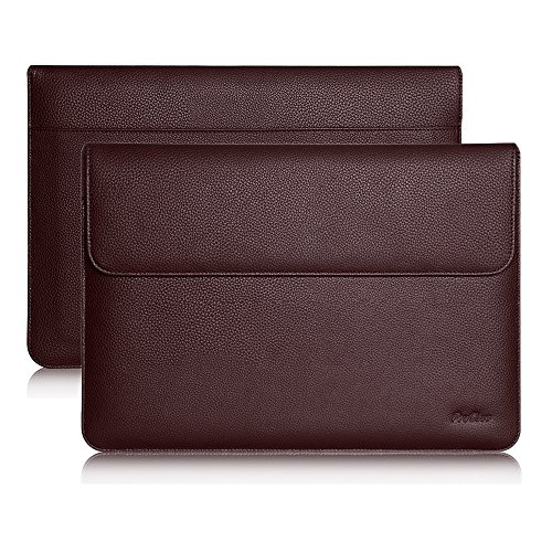 Procase iPad Pro 12.9 Case Sleeve, Cushion Protective Sleeve Bag Cover for Apple iPad Pro 12.9, Surface Pro X, Compatible with Apple Smart Keyboard, Document Pocket & Apple Pencil Holder (Brown)