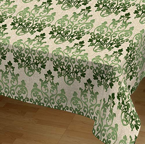DHestia - Mantel Antimanchas Resinado con Teflón Estampado Floral Damasco (140x250 cm, Verde)