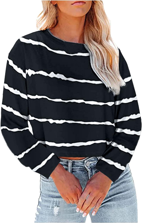 Women Sweatshirt Women's Long Sleeve Round Neck Color Block Stripe Shirt Tops