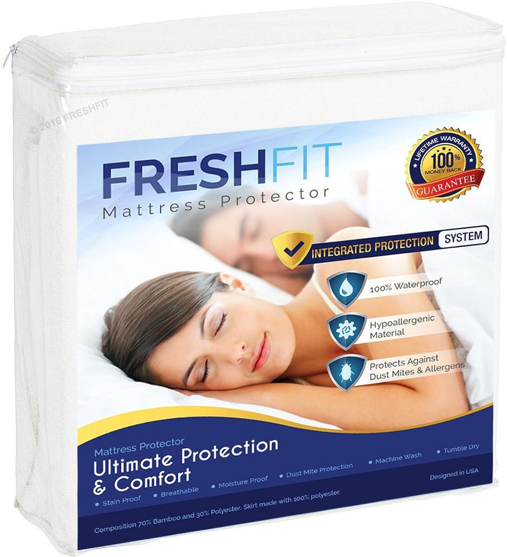 FRESHFIT premium waterproof hypoallergenic noiseless mattress predector. Comfortable vinyl free predection from dust mites, allergens, perspiration and fluid spills. QUEEN size.