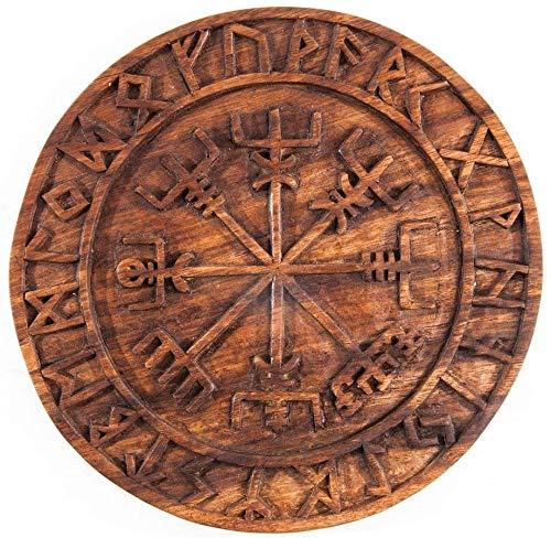 Wandschmuck Wandbild VEGVESIR Wikinger Kompass - Holz