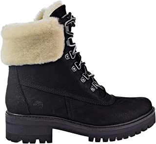 Womens Courmayeur Valley 6 Inch Boot with Shearling, Black/Black, Size 7.5