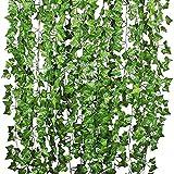 100 hojas de 1 pieza de 2,4 m para decoración del hogar, hojas de hiedra artificiales, plantas de vid de follaje falso flores enredaderas verdes corona de hiedra