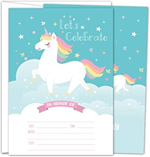 Gooji Unicorn Party Invites – 5x7 Large 25pcs Double Sided Rainbow Unicorn Invitations With 25 Envelopes – Magical Invite Cards For Baby Shower, Baby Registry And Girls Birthday Party Supplies …