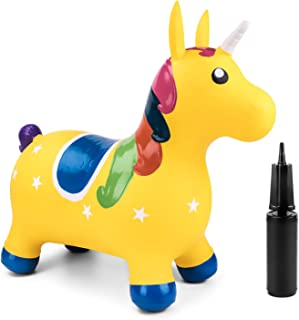 Bouncy Unicorn Hopper Inflatable Ride On Farm Animal Hopping Horse Play Toys, Indoor Outdoor Jumping Bouncing Toy Riding A...