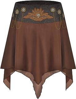 CHARMIAN Women's Steampunk Victorian Embroidered Layered Irregular Ruffled Skirt