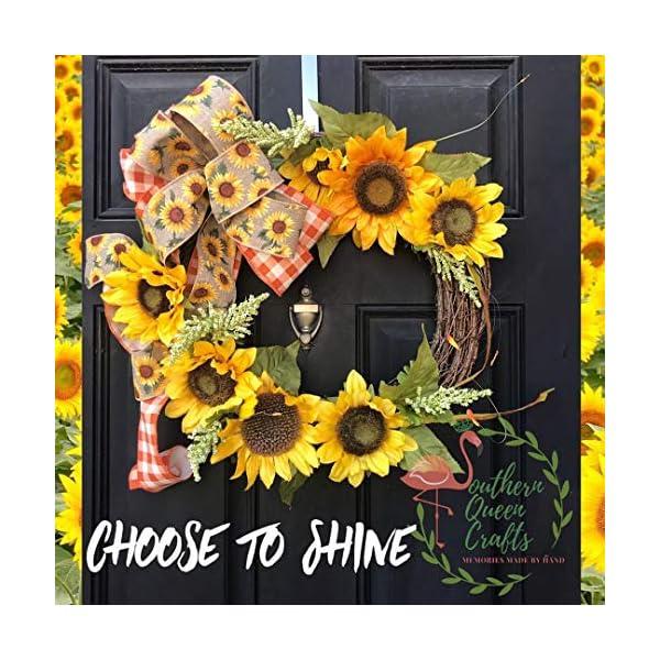 Homcomodar Cabeza de girasol artificial 20 piezas de flores falsas de aspecto real con tallo para bodas, ramos, centros…